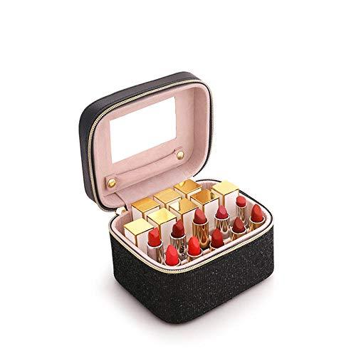 Sac cosmétique Femmes Cas Portable Grande Capacité Rouge À Lèvres Boîte De Rangement Étanche Beau Voyage Professionnel-Black_S_23 * 15.5 * 18 cm