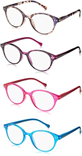 OPTX 20/20 Spring Hinge Reading Glasses - Kendra +150 4 Pack assorted colors