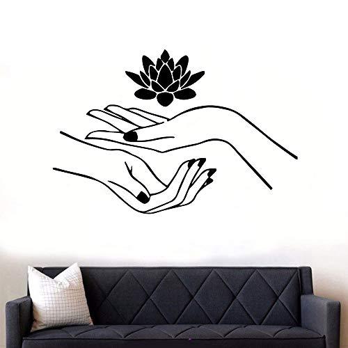 Mano divertida Yoga etiqueta de la pared del hogar arte mural decoración de la sala de estar decoración de la oficina Mural etiqueta de la pared A9 L 43x64cm