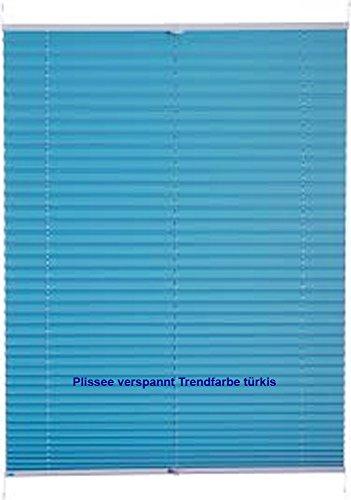 IXX-Design Klemmplissee, Plissee, Faltenrollo, Klemmrollo ohne Bohren, Trendfarbe türkis (100 cm x 130 cm)