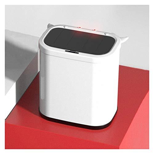 Cubo de Basura Creative Cute Smart Basura de Bote 2.6 Gallon Capacidad de basura automática para el hogar con la tapa de baño pequeño Basura puede tonterías de basura. Papeleras ( Color : White )