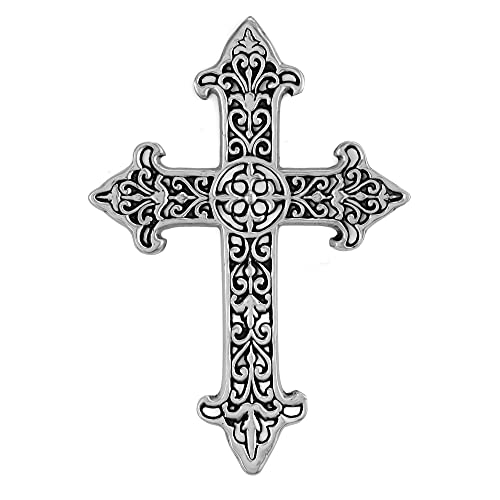 Decorative Spiritual Celtic Cross Home Wall Decor - Hanging Cross Wall Decor, Best For Home, Office And As A Gift - Handcrafted, Finished in Silver with Black Glaze Wall Cross, 11' x 15.5' by ABY DECOR