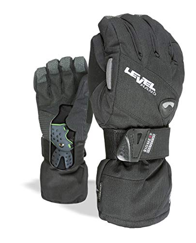 "Level Half Pipe""Plus"" Snowboard Gloves with BioMex Wrist Guards, Waterproof GoreTex Shell, Warm ThermoPlus Liner (Black, Medium (8.0in))"