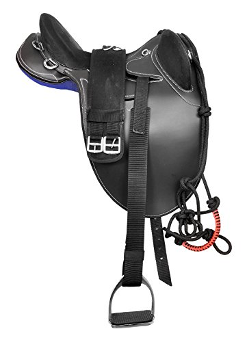"""Manaal Enterprises Synthetic Suede Australian Stock Saddle with Horn and Accessories Size- 15' to 18' inch Seat Available (16"""" Inch Seat, Black)"""