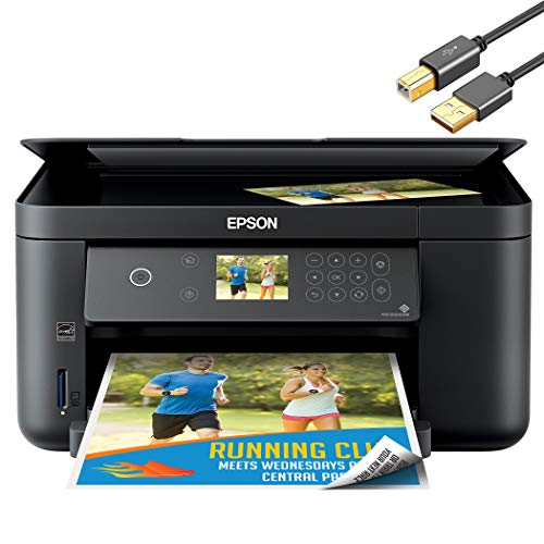 "Epson Expression Home XP 51xx Series Wireless All-in-One Color Inkjet Printer for Business Office - Print Scan Copy - Auto 2-Sided Printing, 2.4"" Color LCD, 150-Sheet Capacity - ORPHYER Printer Cable"