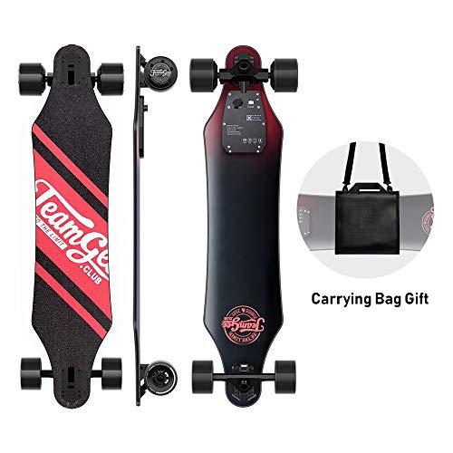 Teamgee H5 Monopatín Eléctrico Skateboard Eléctrico,Control Remoto,Ultra Delgado,Batería Integrada Doble Motor,Velocidad Máx 35 km/h,Velocidad Autonomía 15 km-18 km,para Adulto Adolescente