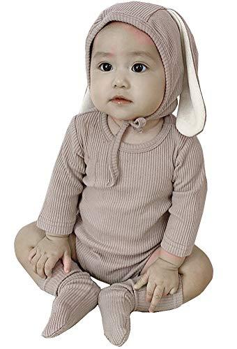 AGQT Baby Mädchen Junge Hase Kurzarm Einteiliger Strampler Neugeborenen Baby Mädchen Jungen Fotoshooting Kaninchen Kostüm Jumpsuit mit Hut & Socken 3PC Khaki 18-24 Monate