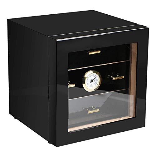 Cigar Cabinet Humidor with Hygrometer and Humidifier, Spanish Cedar Wood Lined and 3 Layer Drawers, Tempered Glass Door, Decent Cigar Box Gift Set