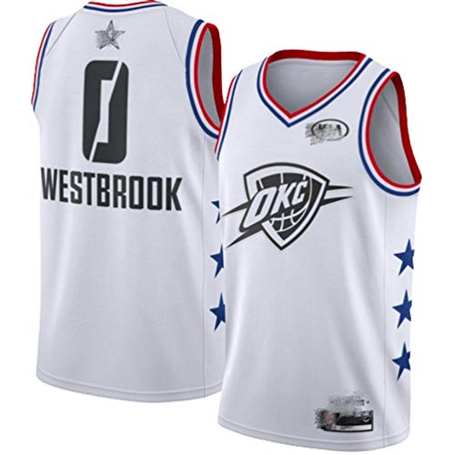 Herren Basketball Trikot (Russell Westbrook) Nr. 0 (Oklahoma City Thunder) Westenshorts Set, All-Star Swingman Herren Training Basketballkleidung, Jungen und Mädchen Sommersport Fitness Freizeit Bask