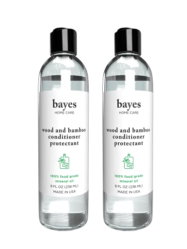 Bayes High-Performance Food Grade Mineral Oil Wood & Bamboo Conditioner and Protectant - Cleans, Conditions and Protects Wood, Bamboo, and Teak Cutting Boards and Utensils - 8 oz, 2 Pack