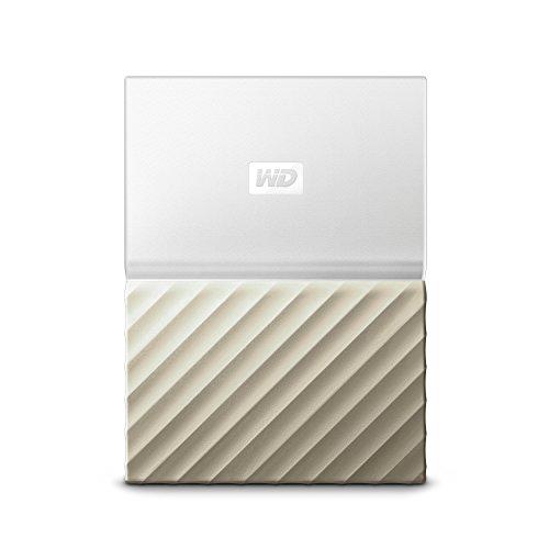 WD My Passport Ultra Mobiler Datenspeicher 2 TB (metallic-mattes Design, Datensicherung, Festplattenlaufwerk in WD-Qualität) weiß/gold
