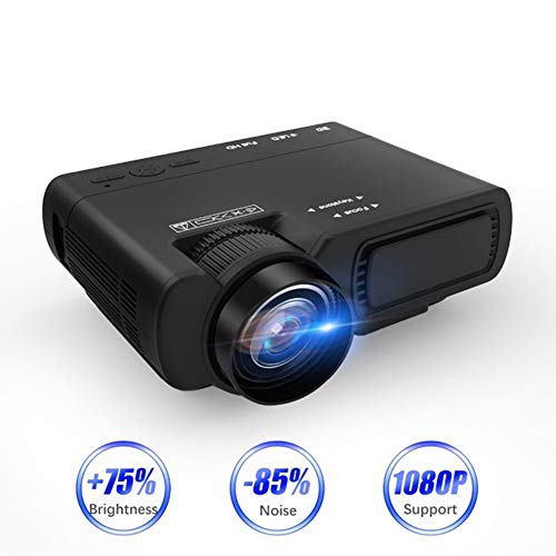 MaiTian Projector, draagbaar, Android Projector T5/T5 Pro, draagbaar, mini-projector, 1800 lumen, LED, Smart Full HD, Home Theatre Movie Beamer, Proyector Large Zwart