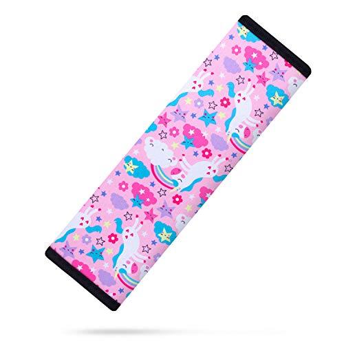 AMUSEPROFI Gurtpolster für Kinder, Gurtschoner, Schulterpolster, passend für Auto und Rucksack, Autozubehör mit süßer Muster für Mädchen, 1 Stück, Unicorn