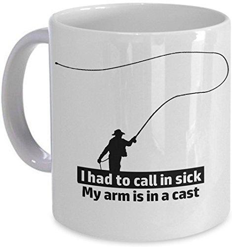 Vissen koffiemok Arm in een Cast moest bellen in ziek! vlieg visser vis gift mok engel picksPlace