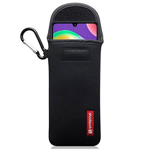 shocksock, Kompatibel mit Samsung Galaxy A31 Neopren Tasche mit Carabiner Hülle - Schwarz