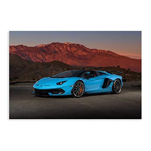 Lamborghini Aventador SV Roadster Sportwagen Poster Leinwand Poster Schlafzimmer Dekor Sport Landschaft Büro Zimmer Dekor Geschenk 30 × 45 cm ohne Rahmen style1