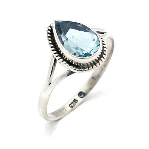 Anillo de plata de ley 925 azul topacio (No: MRI 113), Ringgröße:52 mm/Ø 16.6...
