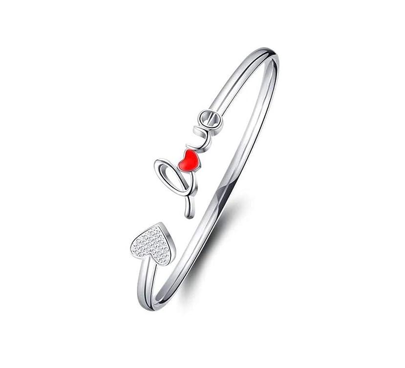 合図軽減教えLMZ 愛S999シルバーファインブレスレット女性シンプルな小さな新鮮なオープンバレンタインデー誕生日プレゼント用ガールフレンド (Color : Red)