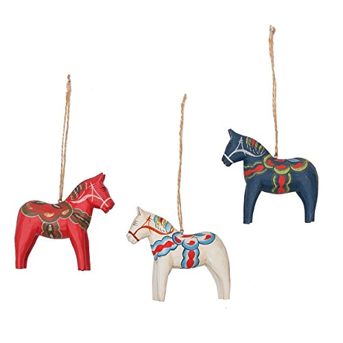 GALLERIE II Dala Red White and Blue Horse Handmade Wood Carved Christmas Xmas Ornament A/3 Multi