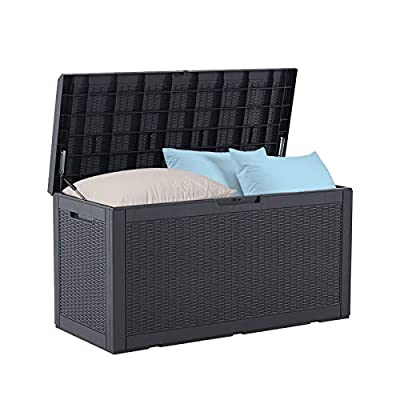 BLUU 100 Gallon Outdoor Deck Box with Cushion for Outdoor Pillows, Pool Toys, Garden Tools, Furniture and Sports Equipment| Waterproof Cabinet | Black | Lock Included