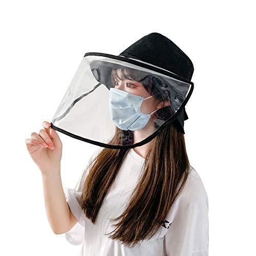 Removable Protective Hat Face Safeguard, Anti-Fog Dustproof Sun Bucket Cap (Black)