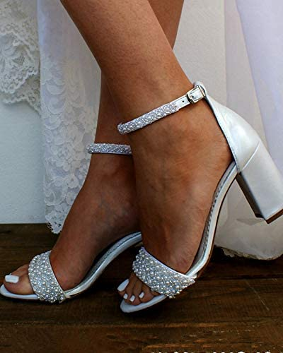 Sapalle Block Heels Pearls Wedding Sandals for Bride Open Toe Ankle Strap Evening Party Summer Sandals Shoes with Pearls