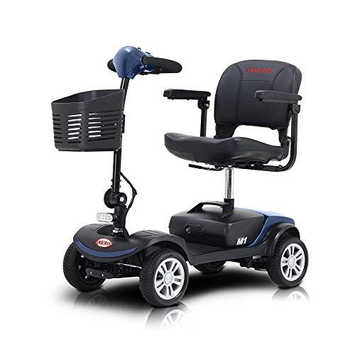 SWEETRICH Kompakt Seniorenmobil elektroroller - Elektromobil - mit 12AH Blei-Akku - 120KG Max. Gewicht - 46cm Breite Sitz - 4 Räder Elektromobil - Blau