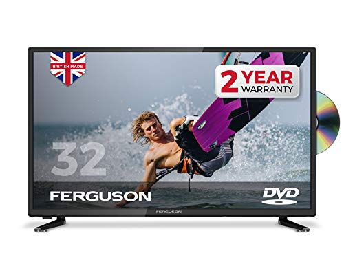 "Ferguson 32"" Freeview T2 HD TV with Built-in DVD Player,Black"