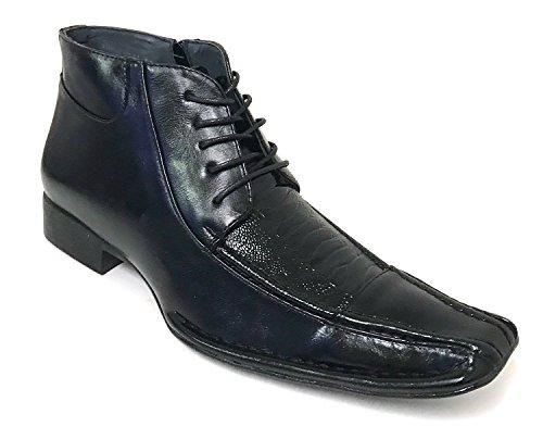 G4U- Alberto Fellini Prague 01 Men's Dress Boots Lace up Alligator Cowboy Western Ankle Zipper Shoes (10.5 D(M) US, Black)