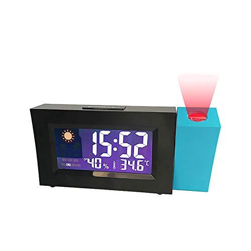YQK Digital-Projektions-Wecker mit LCD-Display-Projektions-Taktgeber 180 ° schwenkbaren Projektions Thermometer & Hygrometer mit USB-Ladegerät, Geeignet for Schlafzimmer/Studie