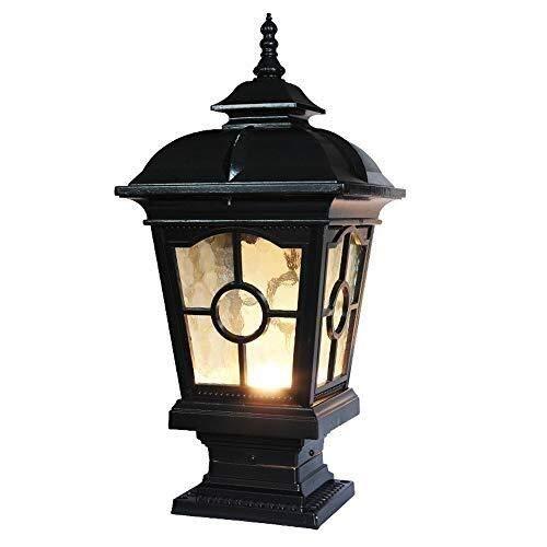 DULG European Victorian Outdoor Waterproof Column Lamp Glass Lantern Lawn Lamp Garden Way Street Light Villa Patio Pillar Post Lamp Park E27 Landscape Light Decor Fence Bollard Light Hard Wiring E27