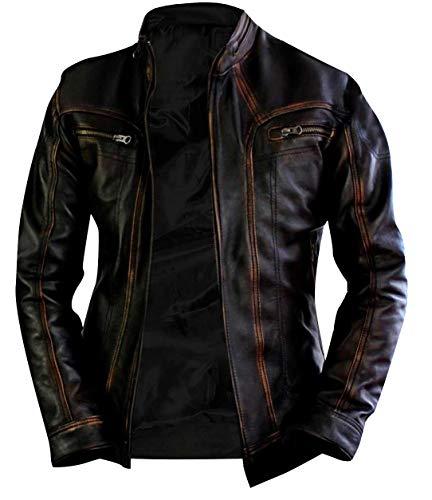 Mens Vintage Motorcycle Retro Cafe Racer Distressed Black Biker Leather Jacket
