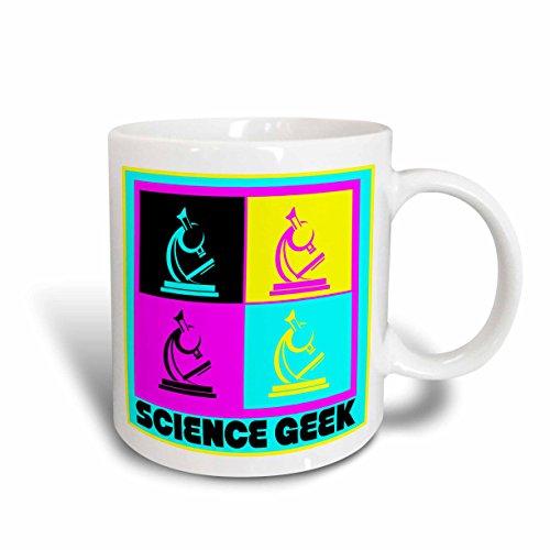 3dRose mug_102397_2 Cmyk Pop Art Microscope Science Geek Design Cartoon Ceramic Mug, 15-Ounce