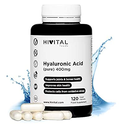 Hyaluronic Acid 400 mg | 120 vegan capsules (4 month supply) | High dose, concentration and bioavailability that keeps cartilage, joints, bones and skin healthy