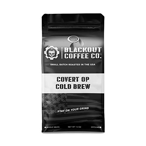 Blackout Coffee, Covert Op Cold Brew Medium Roast Coffee, Perfect for Cold Brew Coffee, Drip & Pour Overs, Small Batch Roasted in the USA – 12 oz Bag (Ground Coffee)