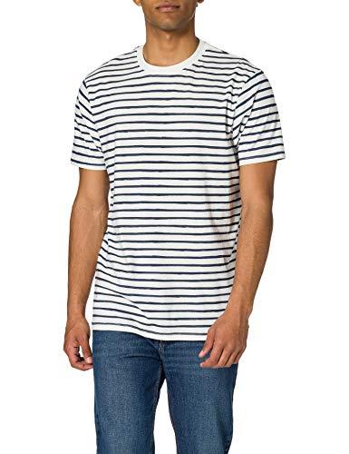 Springfield Camiseta Regular Rayas Reconsider, Azul Medio, L para Hombre