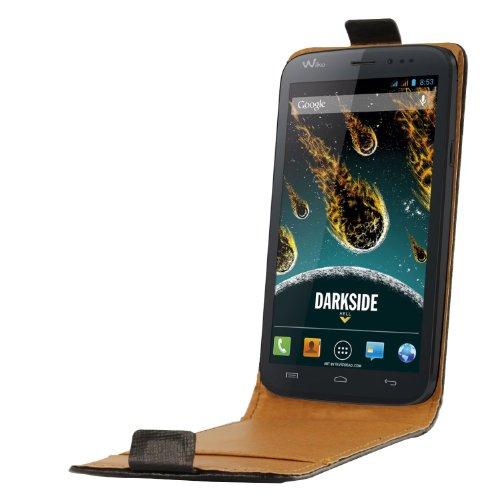 So'Axess SCP10126 Leder Schutzhülle mit Bildschirm-Flappe für Wiko Darkside schwarz