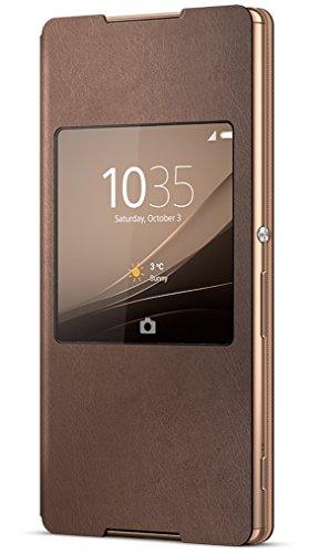 Sony Mobile Flip Folio Hülle Smart Style Window Case Cover mit Fenster für Sony Xperia Z3+ - Kupfer