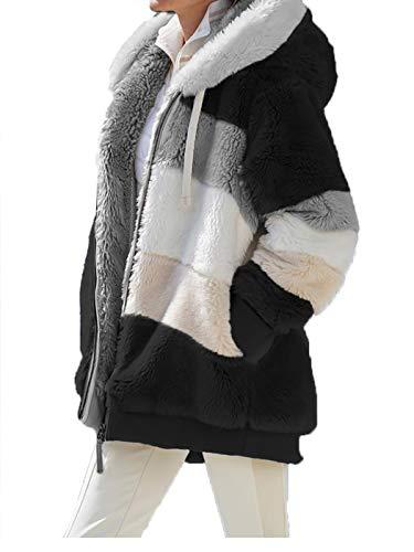 Abrigo de invierno unisex 2020 casual con capucha con cremallera, abrigo de pelo cálido suelto