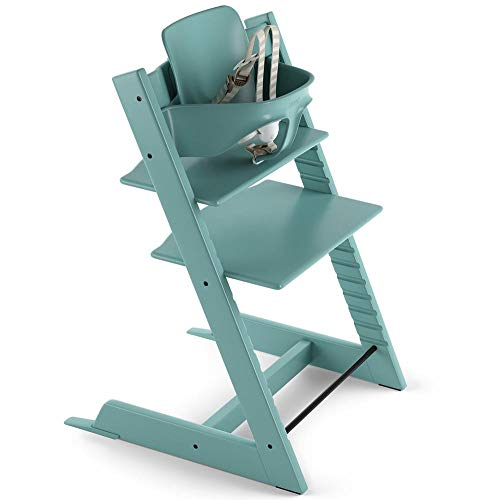 Tripp Trapp by Stokke Adjustable Wooden Aqua Blue Baby High Chair...