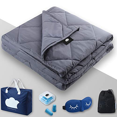 "DREAMality Premium Cooling Weighted Blanket 48""x72"" 15 lbs for Adult or Kids 