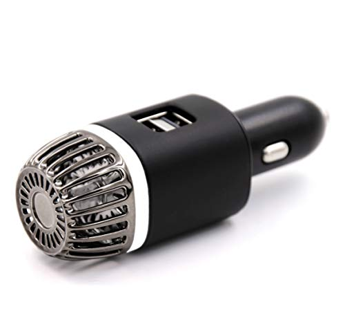 NIOSS 3-en-1 Purificador de Aire de Coche Pro 4.0 - Poderoso Ambientando Ionizador HEPA con 2x USB Contactos de carga rápida. Quita el mal olor