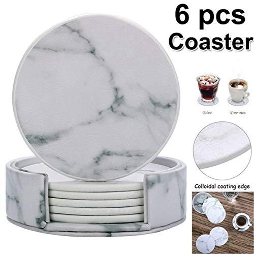 DyNamic 6 Stuks Marmeren Beker Coaster Ronde Lederen Warmte-Isolerende Mat Voor Keukentafel Thuis