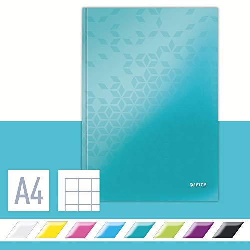 Leitz Cuaderno A4, 80 páginas, Con Cuadrícula, Encuadernación con tapas rígidas, WOW, Turquesa, 46261051