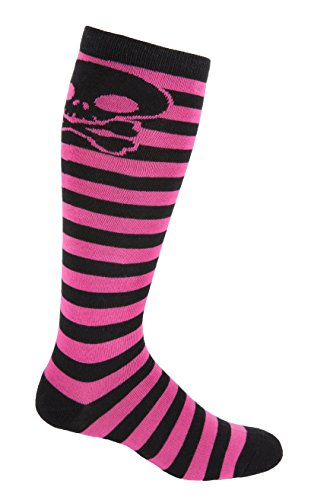 MOXY SOCKS Skater Skull Kniehoch gestreift Deadlift Socken, Unisex-Erwachsene Herren, schwarz / pink, One Size Fits All, Knee-High