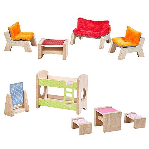 HABA 303840 - Little Friends - Puppenhaus-Möbel Wohnzimmer (Wohnzimmer + Kinderzimmer)