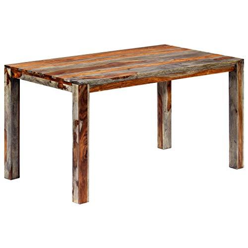 vidaXL Sheesham-Holz Massiv Esstisch Küchentisch Esszimmertisch Holztisch Speisetisch Tisch Massivholztisch Grau Palisander 140x70x76cm