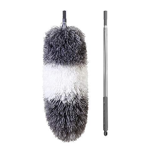 BOOMJOY. Plumero telescópico de microfibra, extensible hasta 254cm, resistente a los arañazos, barra de acero inoxidable, cabezal flexible desmontable, lavable