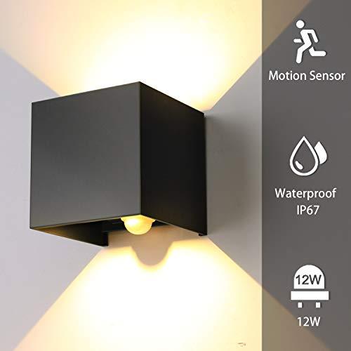ENCOFT 12W Wandleuchte Sensor Bewegungsmelder Aussen Innen LED Wandbeleuchtung Schwarz IP67 Wasserdicht für Garten/Flur/Weg(Warmes weißes Licht)