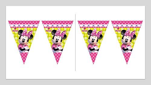 3555; lote de 2 lineales de Banderines Disney Minnie Mouse (9 banderines); ideal para decorar fiestas y cumpleaños